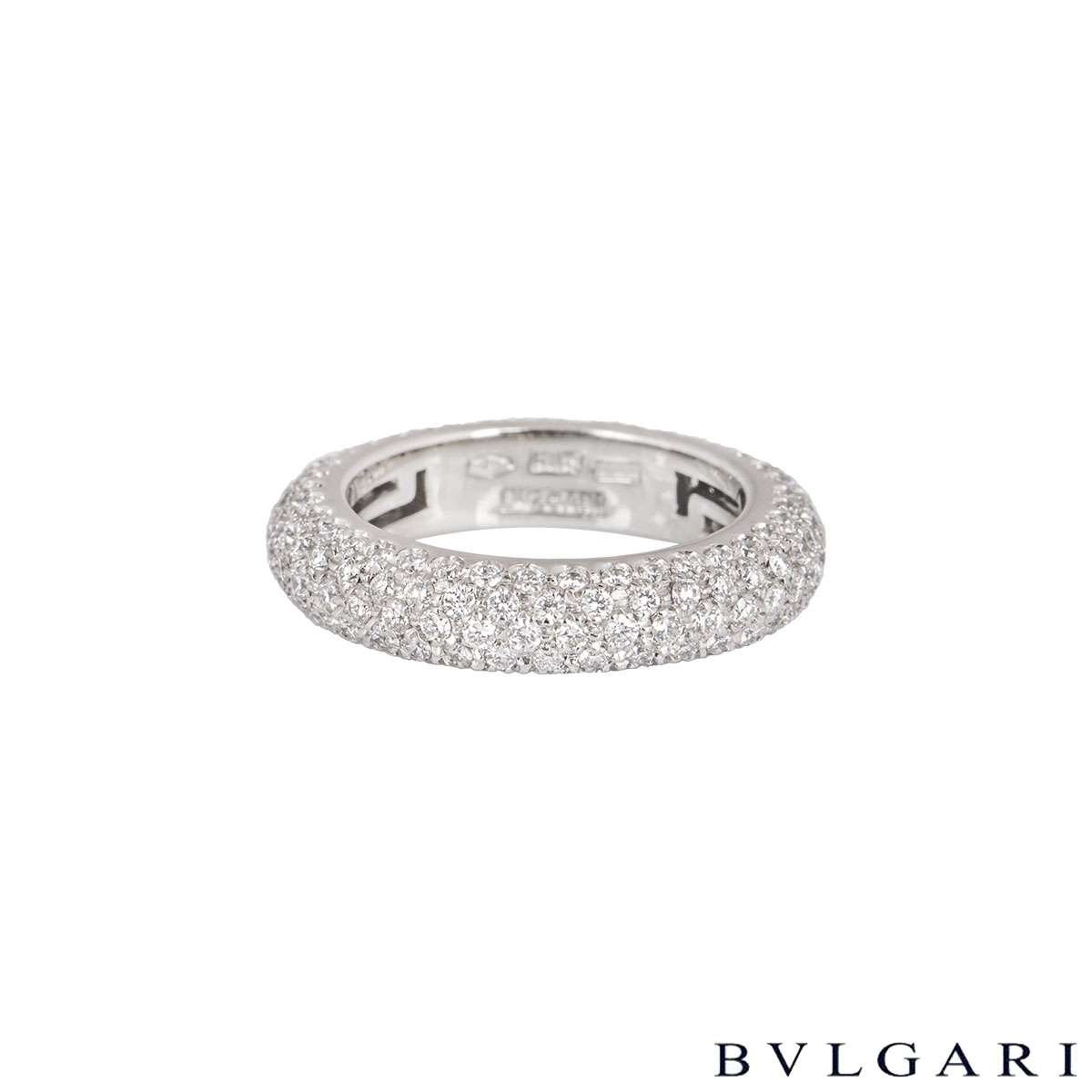 Bvlgari White Gold Pave Diamond Ring